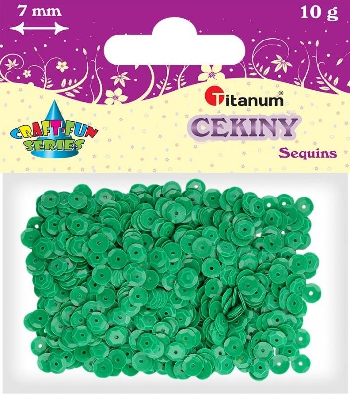 Cekiny kreatywne okrągłe zielone  7mm 14g