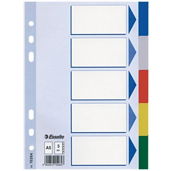 Przekładki plastikowe z PP A5 ESSELTE 5 kartek.