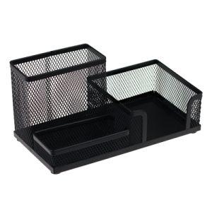 Przybornik na biurko metalowy trzykomorowy czarny