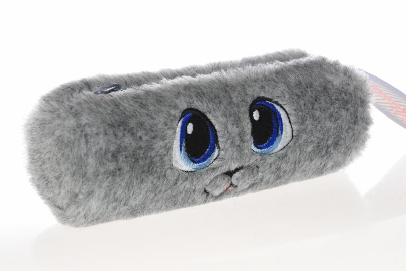 Piórnik tuba futerko oczy szary WAR512