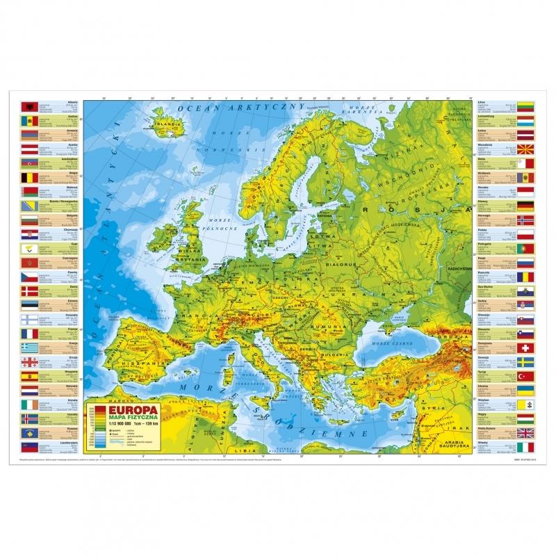 Podkład na biurko twardy oklejany mapa Europy fiz.