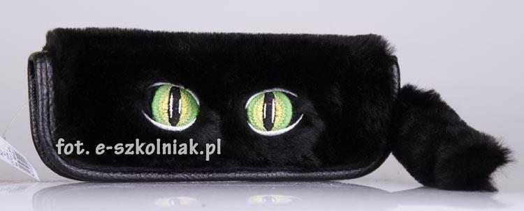 Piórnik płaski pluszowy haft Seria 424 Oczy Kot 1 czarny