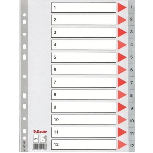 Przekładki plastikowe szare PP A4 1-12 numeryczne ESSELTE