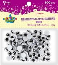 Oczy kreatywne dekoracyjne ruchome czarne z rzęsami 10mm 100szt.