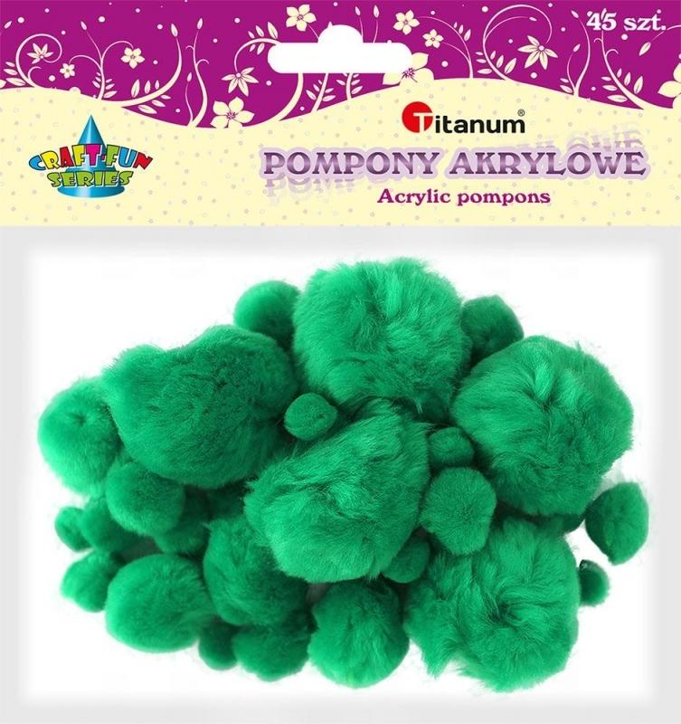 Pompony akrylowe kreatywne zielone 1-5 cm A`45