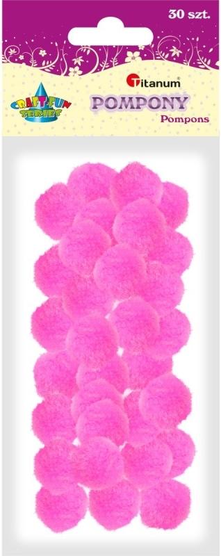 Pompony akrylowe różowe 2,5cm A`30