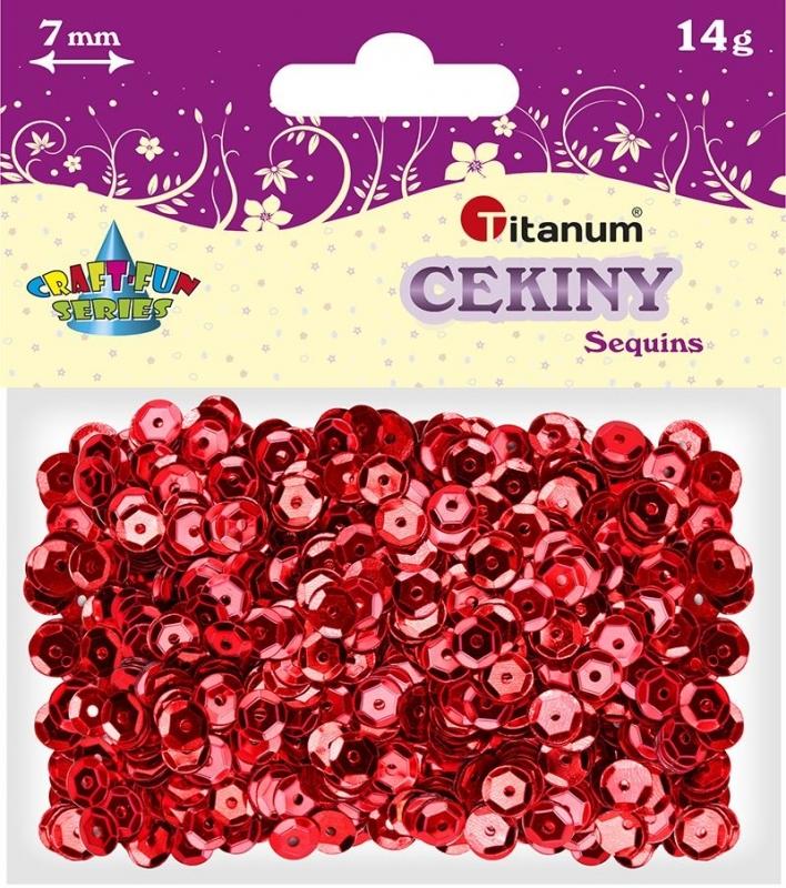 Cekiny kreatywne okrągłe metaliczne czerwone 7mm 14g