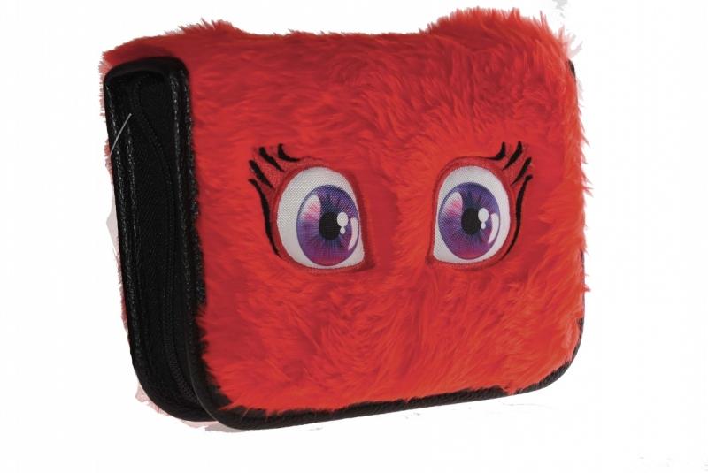 Piórnik 2-klapkowy futerko oczy czerwony WAR488