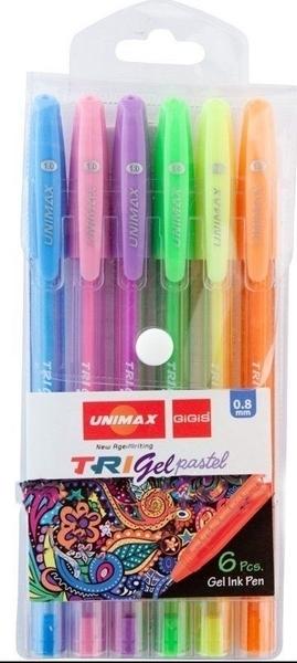 Długopis żelowy 6 kolorów pastelowych UX-144