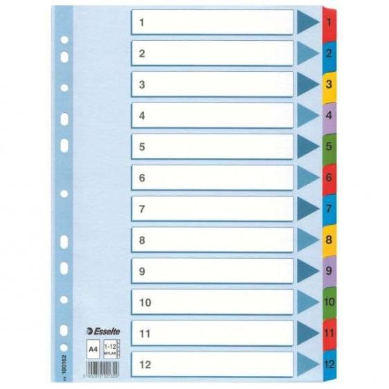 Przekładki do segregatora numeryczne 1-12 ESSELTE