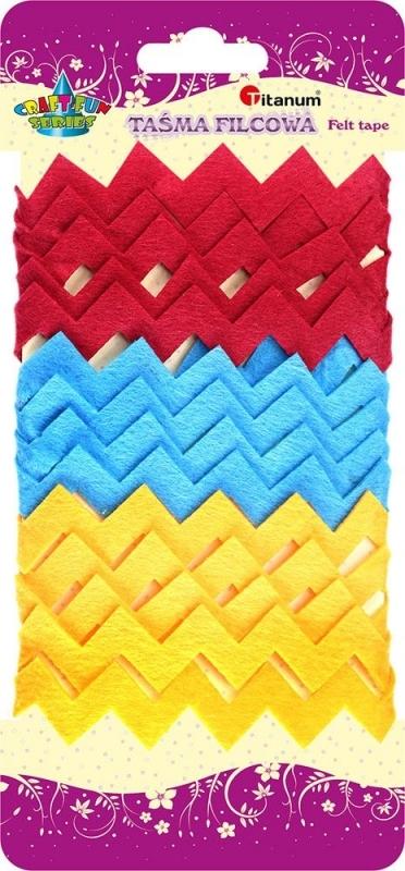 Taśma filcowa Zig Zag żółta,czerwona,niebieska 3 szt.