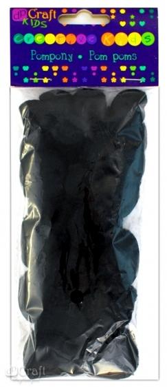 Pompony akrylowe mix czarne 24szt.  Dalprint