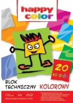 Blok techniczny kolorowy Happy Color A4 20 kartek 170g