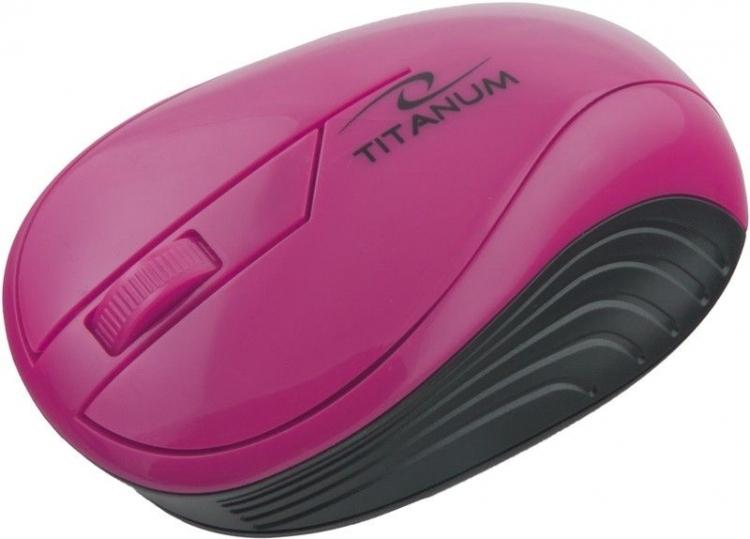 Myszka bezprzewodowa optyczna Titanum NEON 3D USB TM115P Różowa