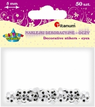 Oczy kreatywne dekoracyjne ruchome czarne 5mm 50szt