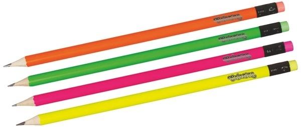 Ołówek okrągły HB z gumką fluo Colorino