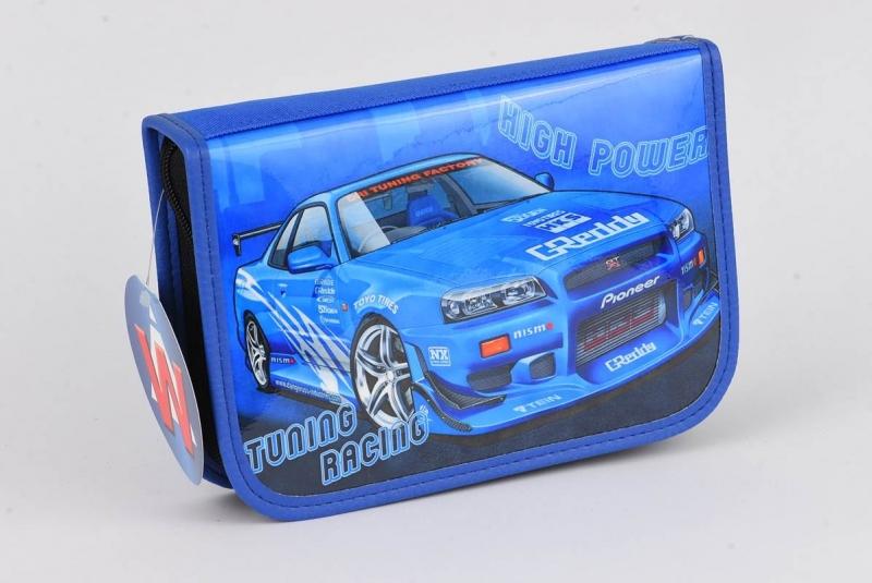 Piórnik jednok. bez wyp. samochód niebieski War372