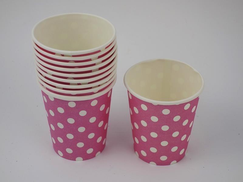 Kubek papierowy kolor kropka różowy 270ml A`10