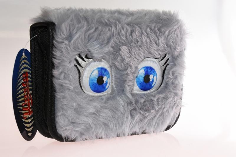 Piórnik 2-klapkowy futerko oczy szary WAR488