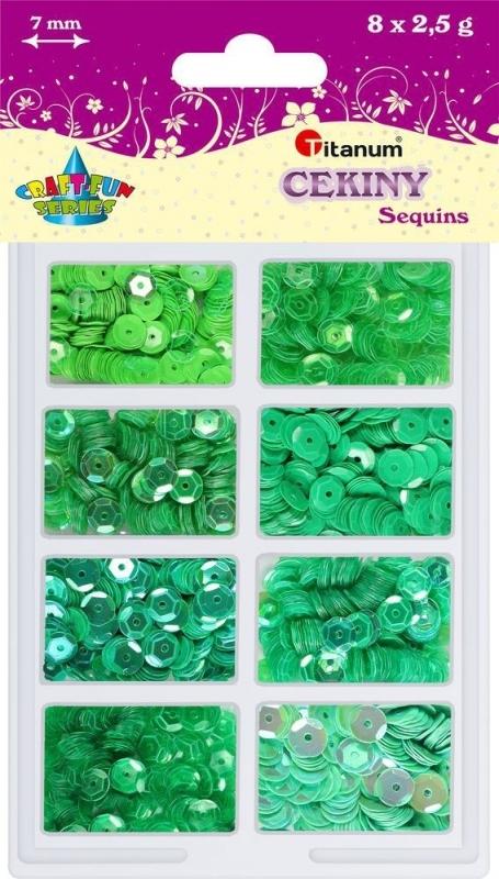 Cekiny okrągłe 7mm 8x2,5g odcienie zieleni