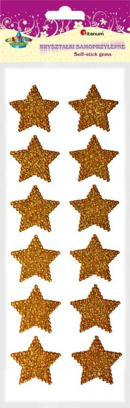 Kryształki samoprzylepne gwiazdki złote 4cm A`12