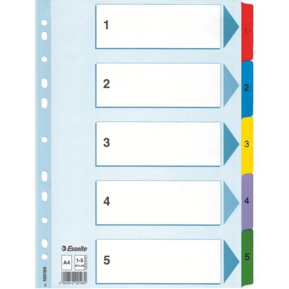 Przekładki kartonowe A4  białe 1-5  Mylar  ESSELTE