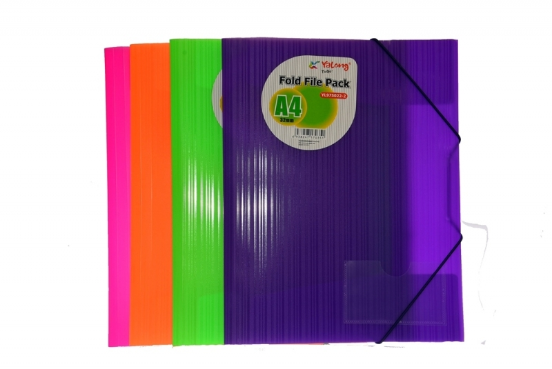Teczka A4 na 2 gumki neon PP zielona Yalong