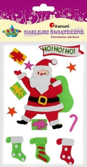 Naklejki piankowe Christmas Mikołaj 12 szt Titanum