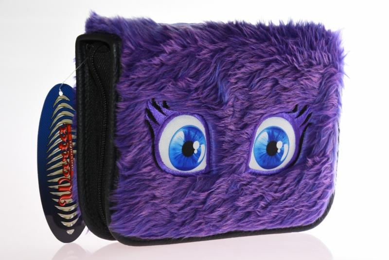 Piórnik 2-klapkowy futerko oczy fioletowy WAR488