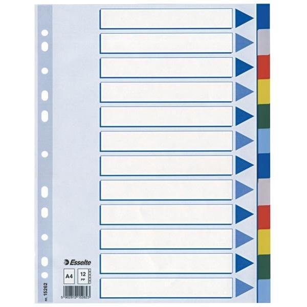 Przekładki plastikowe z PP A4 ESSELTE 12 kartek.