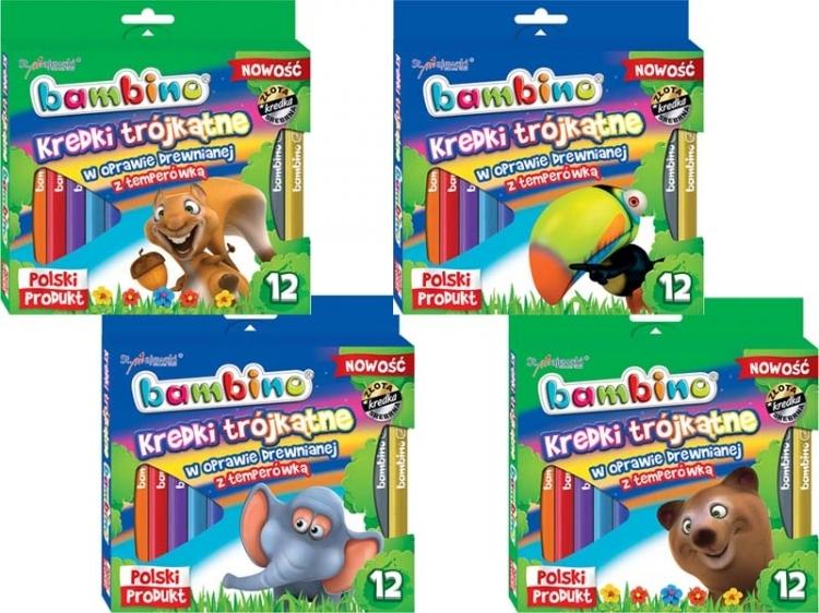 Kredki ołówkowe trójkątne 12 kolorów Bambino
