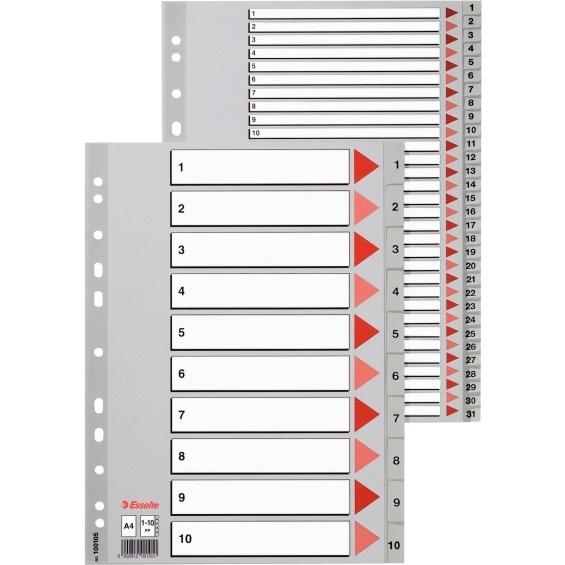Przekładki plastikowe szare PP A4 1-6 numeryczne ESSELTE