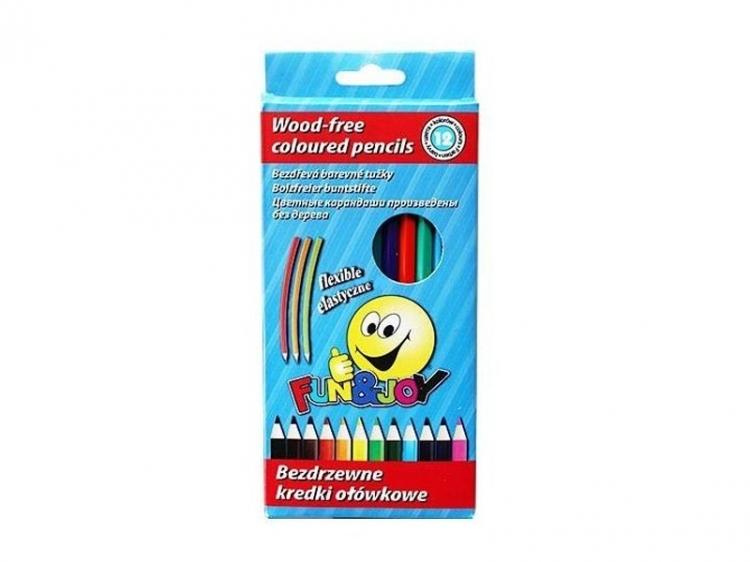 Kredki elastyczne sześciokątne 12 kolorów FUN&JOY