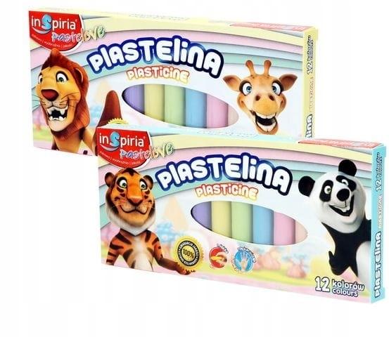 Plastelina 12 kolorów pastelowych Inspiria
