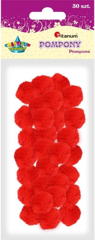 Pompony akrylowe czerwony 2,5cm A`30
