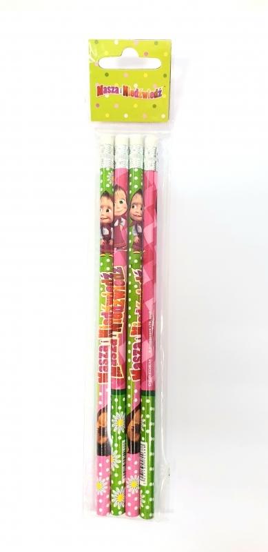 Ołówek z gumką Masza i Niedźwiedź 4szt