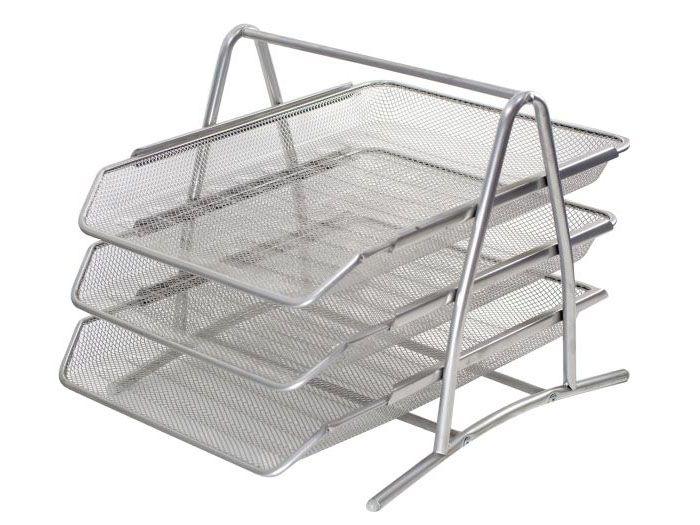 Półka na dokumenty z 3 poziomami, metalowa srebrna.