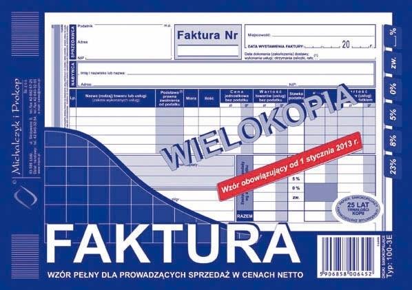 Faktura VAT wielokopia A5
