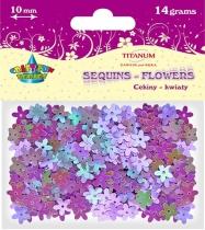 Cekiny kreatywne kwiaty fioletowe 10mm 14g