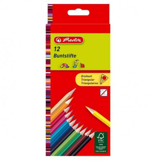Kredki ołówkowe trójkątne lakierowane 12 kolorów HERLITZ