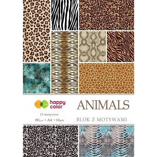 Happy Color blok z motywem Animals A4 15+1 ark