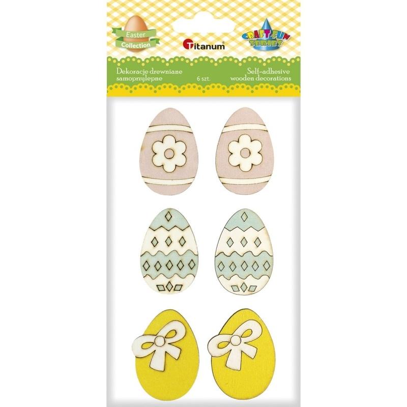 Dekoracje drewniane jajka kolorowe A`6