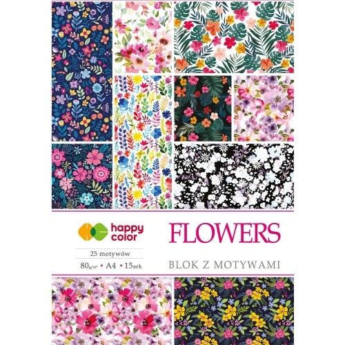 Happy Color blok z motywem Flowers A4 15 ark