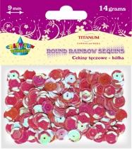 Cekiny kreatywne okrągłe różowe tęczowe 9mm 14g