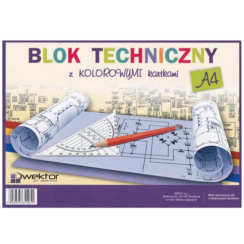 Blok techniczny A4 8 kartek kolorowy Wektor