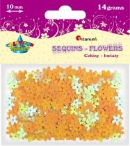 Cekiny kreatywne kwiaty żółte tęczowe 10mm 14g