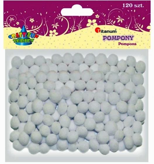 Pompony 1cm  A`120 białe