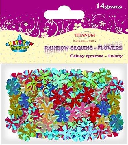 Cekiny kreatywne kwiaty tęczowe 13mm 14g