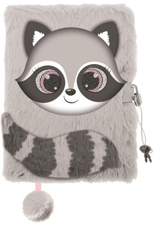 Pamiętnik z kłódką 3D Włochacz A5 96k Raccoon