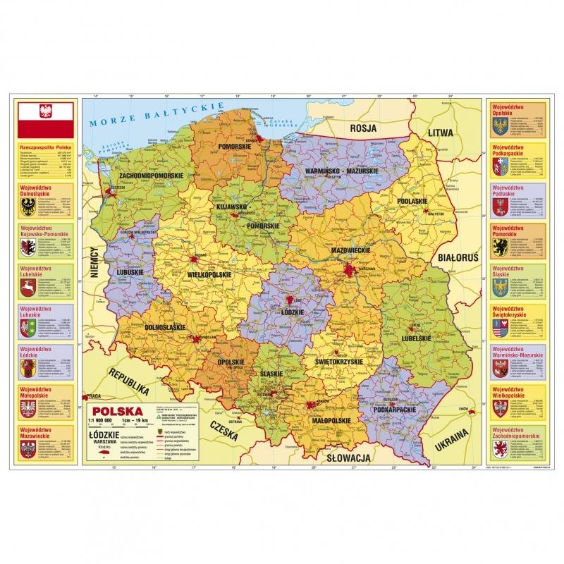 Podkład na biurko twardy oklejany mapa Polski admi